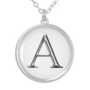 Silver Initial Pendant on Silver Box Chain