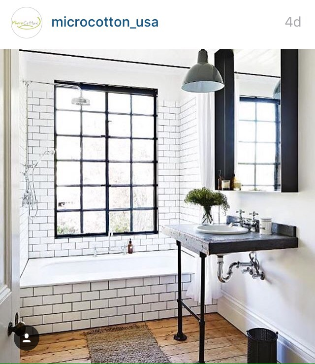 tiled bath window rustic