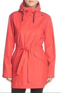 stylish coral hooded raincoat