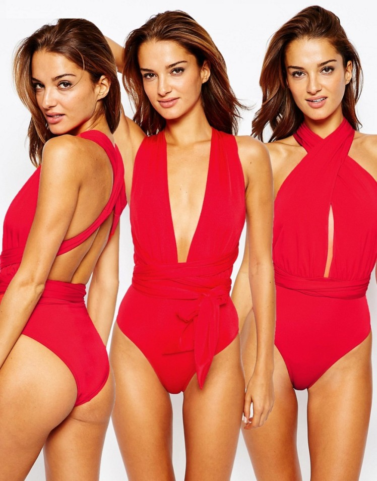 multiway bathing suit- swimwear- red bathing suit- asos swimwear
