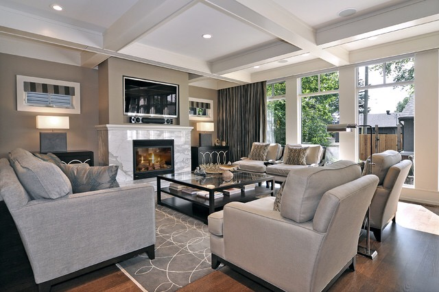 grey fireplace-marble fireplace-grey furniture- home decor-living room inspiration