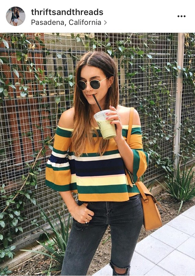 striped top- off the shoulder shirt- fashion blogger- instagram